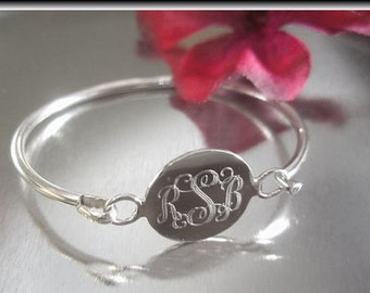 Engravable Round Sterling Silver Child Baby Bangle, Monogrammed Bracelet, Personalized Bangle, Silver Name Initial Bracelet, First Birthday