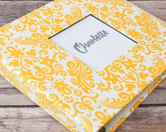 Baby Book, Baby Gift, Baby Album, Baby Memory Book, Baby Keepsake, Modern Baby Book, Yellow Damask Album