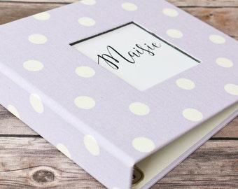 Baby Book, Baby Gift, Baby Album, Baby Memory Book, Baby Keepsake, Modern Baby Book, Lavender Polka Dot Album