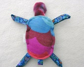 Wrap Scrap Rainbow Waves by Jumpsac - Turtle Plush Rattle - Blue Red Pink