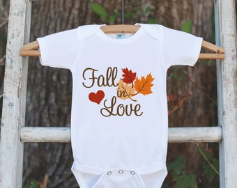 Fall Shirt for Boys or Girls - Fall in Love Onepiece or T-shirt for Baby Boy or Baby Girl - First Fall Baby Shower Gift - Pregnancy Reveal