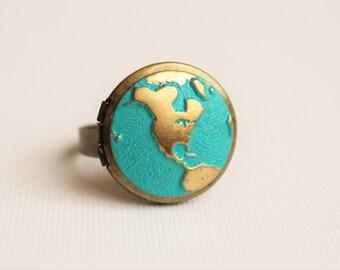 World Traveler Locket Ring