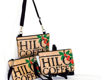 Recycled Burlap Coffee Bag -  Cross Body Bag - iPad Mini - Day Bag - Hilo Coffee Mill