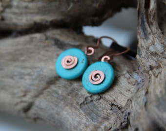 Turquoise earrings Mint blue earrings Round earrings Spiral earrings Casual earrings Gemstone earrings made in Israel
