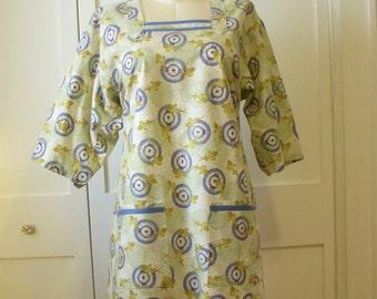 Japanese Style Kappogi Work Apron Smock With Sleeves, Size L, Koi Fish Print