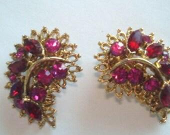 Red Fushia Rhinestone Gold Tone Clip Earrings
