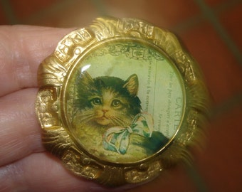 Cat Animal Brooch Gold Tone