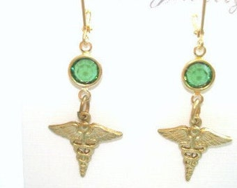 Medical  Green  Crystal Gold Tone Dangle Earrings