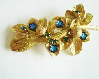 Snake  Gold Tone Blue Flower Brooch