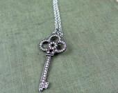 Valentine Diamond Necklace Pave Key Necklace Key Pendant Valentine Necklace Diamond Key Luxury Gift for Her