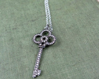 Pave Diamond Key Necklace Pave Key Necklace Key Pendant Diamond Key Luxury Gift for Her Wedding