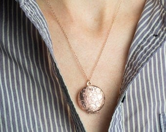 Floral Rose Gold Locket Necklace, Picture Locket, Paisley Pink Jewelry, Rose Gold Wedding Locket, Picture Memento Necklace