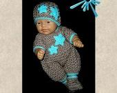preemie clothes; preemie boy set;  preemie baby clothes;  preemie boy clothes; preemie rompers; crochet baby outfit; crochet baby rompers