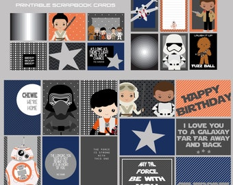 Star Wars Force Awakens Journaling Cards, Project Life Inspired, Instant Download, Digital Scrapbooking, PDF Downloads, Pocket  Scrapbooking