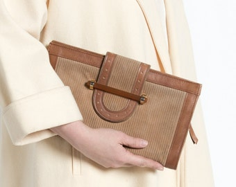 Vintage 70s Brown Suede and Leather Clutch with Lucite Clasp