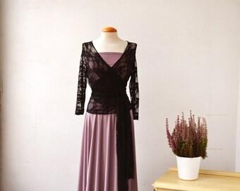 Dusty pink lace dress, romantic long dress, vintage style prom dress, feminine convertible dress, long sleeve dress, bridesmaid lace dresses