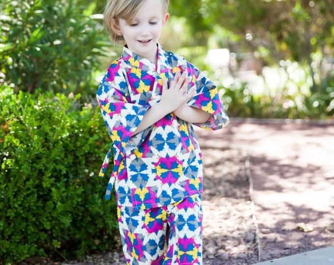 Girls Kimono in SOUTWEST KALEIDOSCOPE kimono top and shorts set Japanese baby toddler kids girls jinbei
