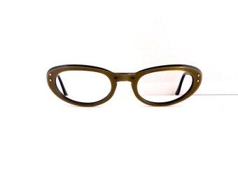 S.C Brand Cat Eye Eyeglasses Frames //Women's Vintage 1950's //Opalescent Bronze Frames//Key Hole//USA//#M259  DIVINE