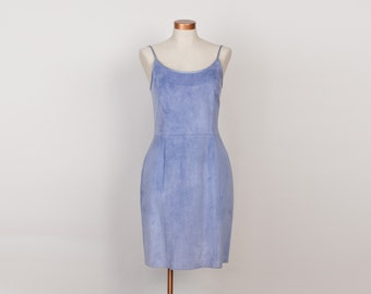 1990s Lavender Blue Suede Dress - Vintage 90s Sleeveless Suede Leather Dress - M