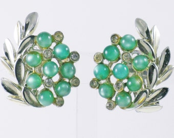 Vintage Charel Green Moonglow and Clear Rhinestone Clip Earrings  (E-2-5)