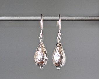 Hammered Silver Earrings - Bali Earrings - Silver Dangle Earrings - Wire Wrapped Earrings Silver - Everyday Silver Jewelry - Stamped Silver