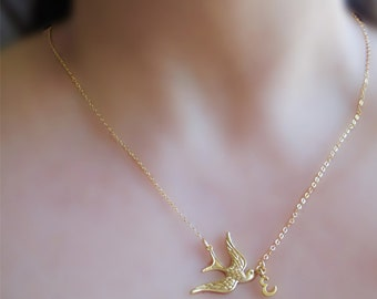 Bird Monogram Necklace, Initial Necklace, Gold Bird Necklace, Letter Necklace Gold, Dainty Everyday Necklace For Teen Girls, Initial Jewelry