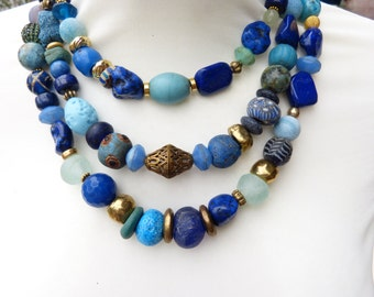 Blue three Strand Necklace, Designer Necklace of Stone, Gemstone, Pearls and Glass, Contemporary Design, Statement Necklace, SHADES OF BLUE,