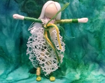 Christmas Fairy - Waldorf Poinsettia Flower Fairy Doll -White and Green Poinsettia Art Doll, bendy doll, ornament, worry doll