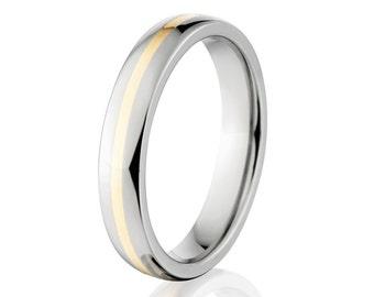 New 5mm Titanium Wedding Ring 14k Yellow Gold Inlay, Sizing 4-17: 5HR11GP-14KINLAY