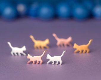 Cat Earrings Cat Studs sterling silver Kids Earrings Teen Jewelry Rose Cat Gold pet jewelry Kitten earrings birthday gift animal earrings