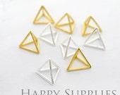 3D Geometric Triangle Cube 24K Golden / 925 Silver Plated Brass Pendant (3D02)