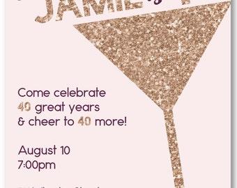 Champagne Glitter Fortieth Birthday Invitation - DIY Printable File