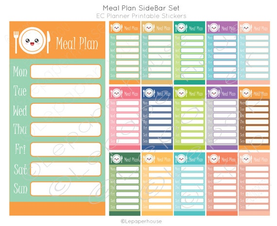 Items Similar To Weekly Meal Plan Sidebar Printable