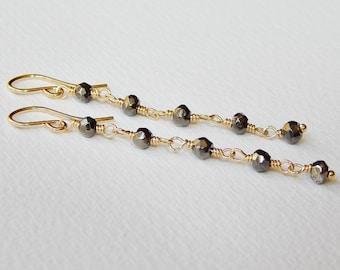 Faceted Pyrite Earrings - Gold Filled Long Dangle Earrings Beaded Earrings Beadwork Earrings Rosary Earrings