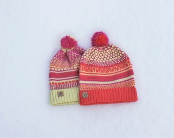 Two Knitted Beanies , Valentines gift, Maching hats for her and him, Cute Love Couples Caps, Knitted merino wool caps, Colorful hat