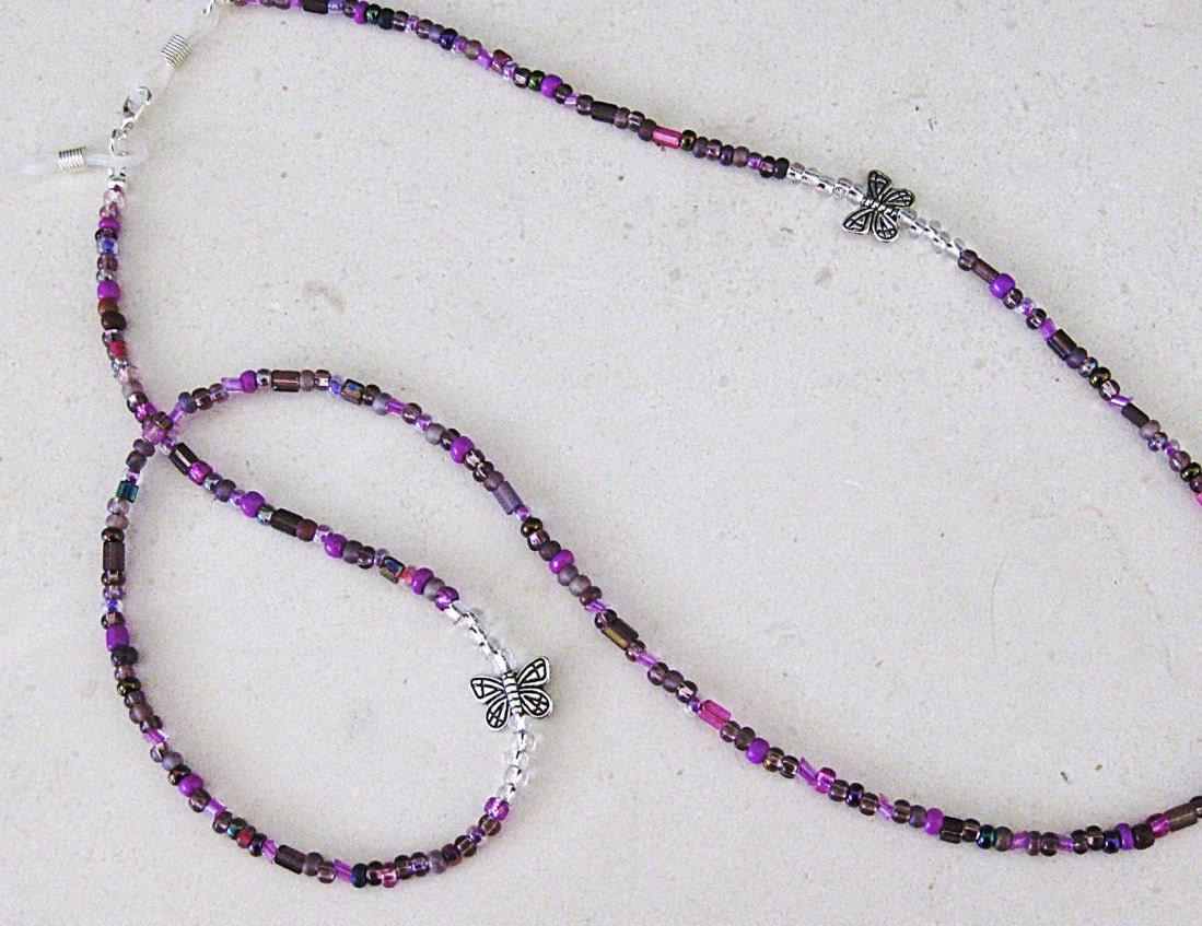 purple beaded eyeglass chain eyeglass chain by