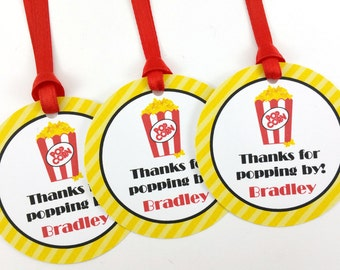 Movie Party Favor Tags, Movie Birthday Favor Tags, Movie Party Decorations, Popcorn Party Tags - SET OF 12