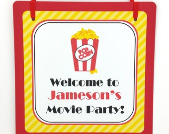 Movie Party Door Sign, Movie Birthday Welcome Sign, Movie Party Sign, Movie Party Decoration