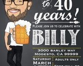 Man's Birthday Party Invitation - Chalkboard - 30th 40th 50th 60th any age - Illustrated from your photo DIGITAL FILE