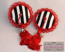 Black & White Striped Pirate Nipple Pasties with Tassels  - SugarKitty Couture