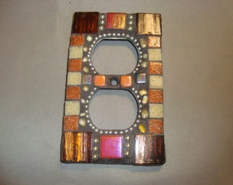 MOSAIC Electrical Outlet COVER , Wall Plate, Wall Art, Bronze, Tan, Orange, Iridescent,  Boho