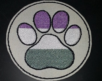 GENDERQUEER PRIDE PAW furry fandom embroidered canvas jacket patch