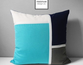 Turquoise & Navy Blue Outdoor Pillow Cover, Sunbrella Pillow Cover, Modern Pillow Case, Navy Blue White and Gray Sunbrella Cushion Cover
