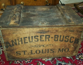 RARE 1920 Prohibition Era Budweiser Anheuser Busch Wood Beer Bottle Crate St Louis MO