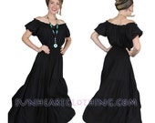 SUNHEART bohemian Hippie BLACK Renaissance Wench Peasant DRESS One Size fits Sml-Med-Large-xl-1x-2x