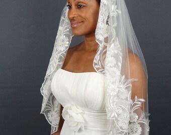 Ivory Lace Wedding Mantilla, Lace Veil, Waist Length Veil