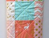 Modern Baby Girl Quilt-Woodland-Forest-Brambleberry Ridge-Coral Mint-Gold Shimmer-Deer and Arrows Baby Blanket