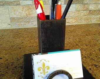 Desktop Iron Business Card Holder   Pencil Pen Organizer   FREE USA SHIPPING    Executive gift   Transitional   Farmhouse   FleurDeLisJunkie