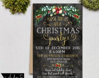 Christmas Party Invitation, Printable Invite, Holiday Party Invitation, Invitations and Announcements, Custom Invite, 5x 7