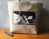 "Sal the Driving Dog - Vintage Photograph - Natural Canvas Tote - Jack Russell Terrier - Carryall Tote - More info in ""Item Details"""